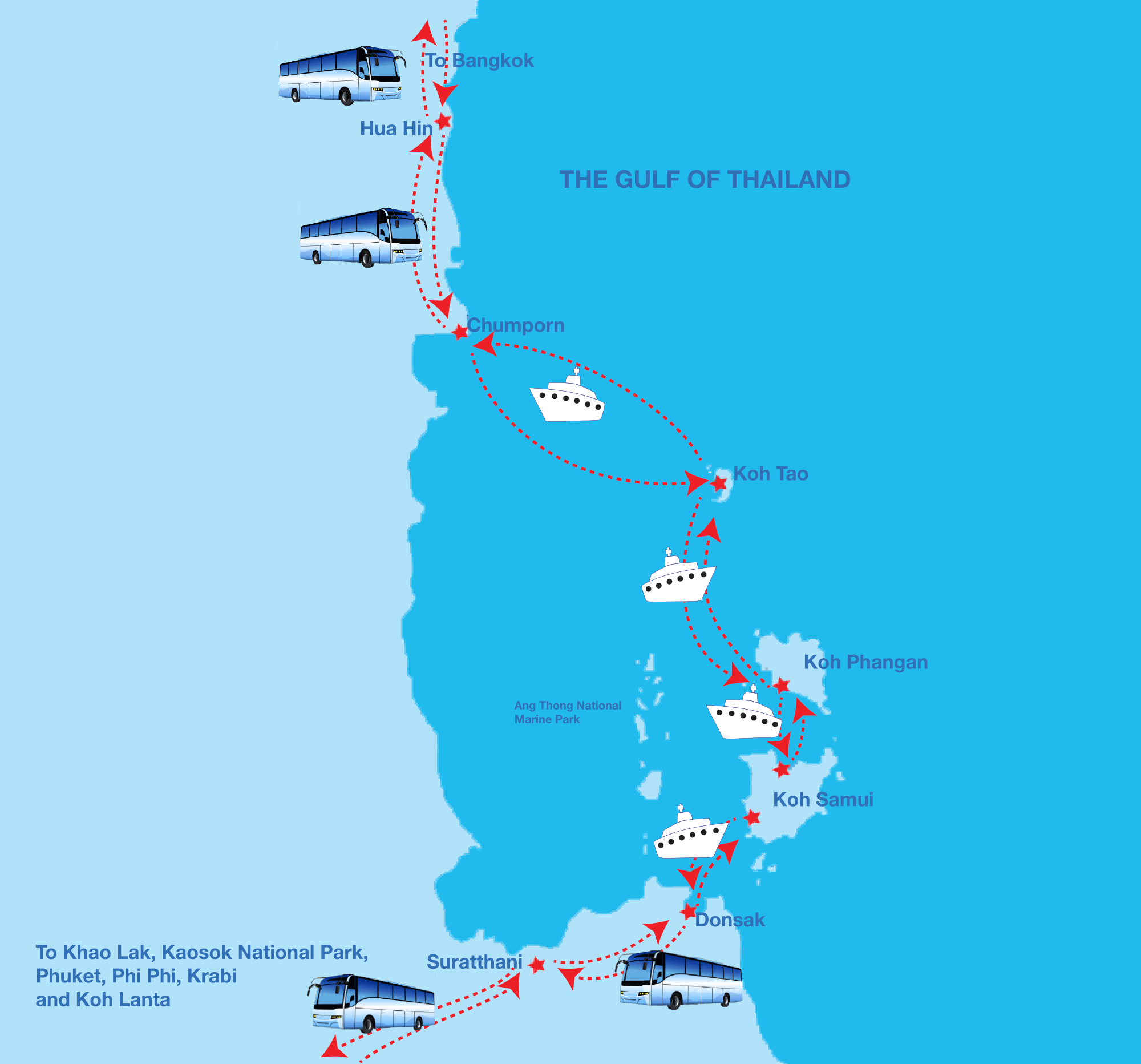 Map of Phi Phi Ferry destination routs